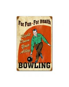Bowling for Health, Sports and Recreation, Vintage Metal Sign, 12 X 18 Inches