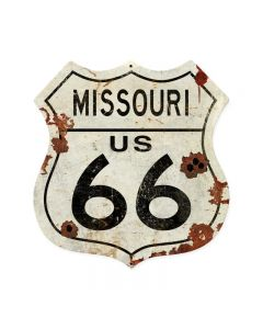 Missouri US 66 Shield Vintage Plasma, Automotive, Shield Metal Sign, 15 X 15 Inches