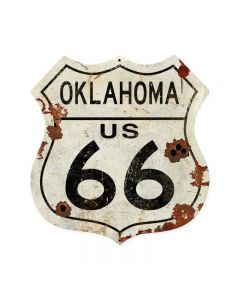 Oklahoma US 66 Shield Vintage Plasma, Automotive, Shield Metal Sign, 15 X 15 Inches