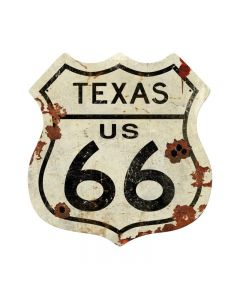 Texas US 66 Shield Vintage Plasma, Automotive, Shield Metal Sign, 15 X 15 Inches