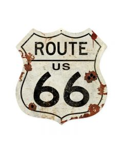 Route US 66 Shield Vintage Sign, Automotive, Shield Metal Sign, 15 X 15 Inches
