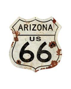 Arizona US 66 Shield Vintage Plasma, Automotive, Shield Metal Sign, 15 X 15 Inches