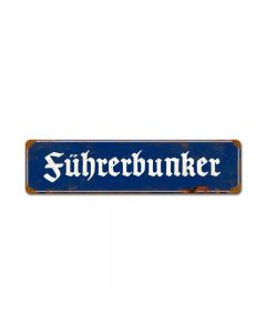 Fuhrerbunker Vintage, Axis Military, Vintage Metal Sign, 20 X 5 Inches