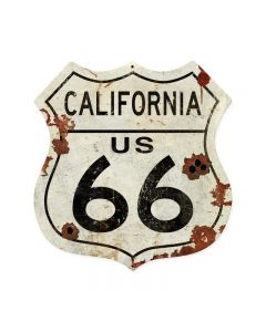 California US 66, Street Signs, Shield Metal Sign, 28 X 28 Inches