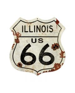 Illinois US 66, Street Signs, Shield Metal Sign, 28 X 28 Inches