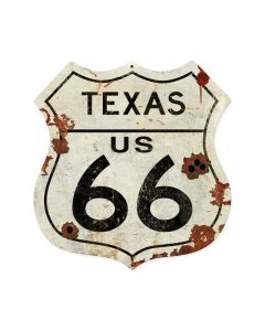 Texas US 66, Street Signs, Shield Metal Sign, 28 X 28 Inches
