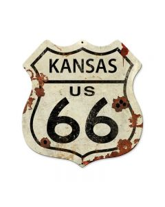 Kansas US Route 66, Street Signs, Shield Metal Sign, 15 X 15 Inches