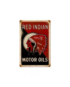 Red Indian Motor Oils, Humor, Metal Sign, 36 X 24 Inches