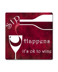 Sip Happens, Food and Drink, Custom Metal Shape, 12 X 12 Inches