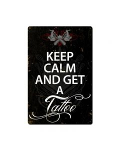 Keep Calm Tattoo, Humor, Metal Sign, 16 X 24 Inches