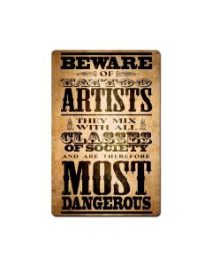 Beware Tattoo Artist 12x18, Humor, Metal Signs, 12 X 18 Inches