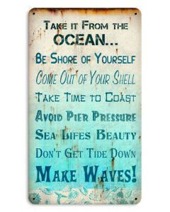 Oceanic Advice Small, Ocean and Nautical, SATIN METAL SIGN , 8 X 14 Inches