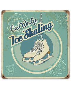 Can We Go Ice Skating, Seasonal, Vintage, 12 X 12 Inches