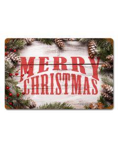 Merry Christmas Wood Pine, Seasonal, Vintage, 12 X 18 Inches