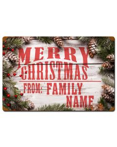 Merry Christmas From Family Personalized Sign, Seasonal, Personalized, 16 X 24 Inches