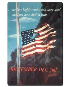 Remember Dec 7Th, Military, Satin, 24 X 16 Inches