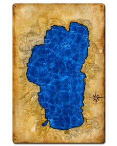 Lake Tahoe Map, Home and Garden, Satin, 16 X 24 Inches