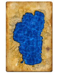 Lake Tahoe Map, Home and Garden, Satin, 24 X 36 Inches