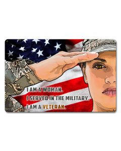 Women Veteran Army, Military, Satin, 18 X 12 Inches