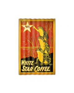 White Star Coffee Corrugated, Food and Drink, Corrugated Rustic Barn Wood Sign, 16 X 24 Inches