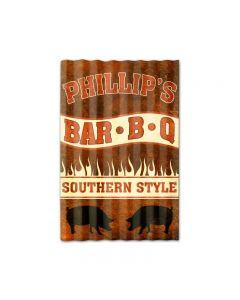 Phillipƒ??s BBQ Corrugated, Food and Drink, Corrugated Rustic Barn Wood Sign, 16 X 24 Inches