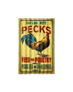 Pecks Rooster Feed Corrugated, Food and Drink, Corrugated Rustic Barn Wood Sign, 16 X 24 Inches