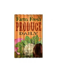 Farm Fresh Corrugated, Food and Drink, Corrugated Rustic Barn Wood Sign, 16 X 24 Inches