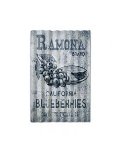 Ramona Blueberries Corrugated, Food and Drink, Corrugated Rustic Barn Wood Sign, 16 X 24 Inches
