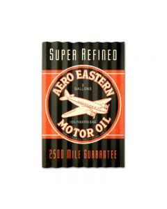 Aero Eastern Motor Oil Corrugated, Automotive, Corrugated Rustic Barn Wood Sign, 16 X 24 Inches