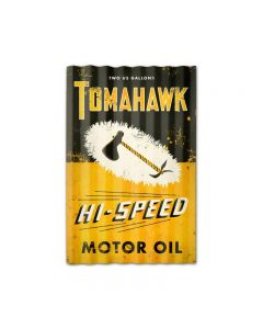 Tomahawk Oil Corrugated, Automotive, Corrugated Rustic Barn Wood Sign, 16 X 24 Inches