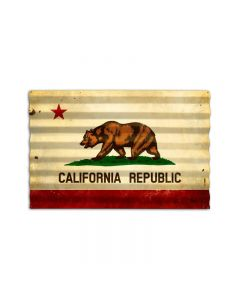 California Flag Corrugated, Home and Garden, Corrugated Rustic Barn Wood Sign, 24 X 16 Inches