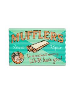 Muffler Service Corrugated, Automotive, Corrugated Rustic Barn Wood Sign, 24 X 16 Inches