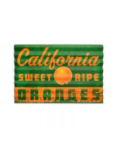 California Oranges, Food and Drink, Corrugated Rustic Barn Wood Sign, 24 X 16 Inches