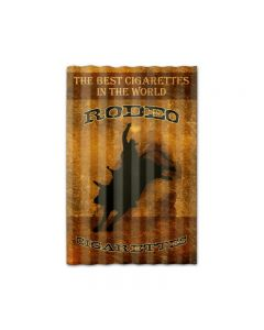 Rodeo Cigarettes Corrugated, Home and Garden, Corrugated Rustic Barn Wood Sign, 16 X 24 Inches