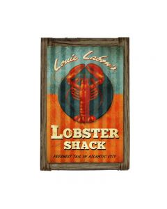 Lobster Shack Corrugated Framed, Home and Garden, Corrugated Rustic Barn Wood Sign, 16 X 24 Inches