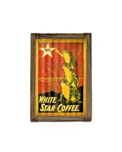 White Star Coffee Corrugated Framed, Food and Drink, Corrugated Rustic Barn Wood Sign, 16 X 24 Inches