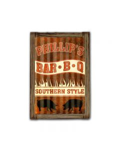 Phillip\'s BBQ Corrugated Framed, Food and Drink, Corrugated Rustic Barn Wood Sign, 16 X 24 Inches