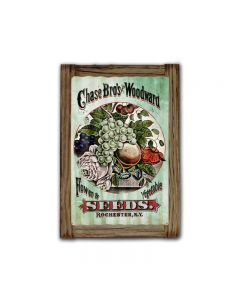 Chase Brothers Seeds Corrugated Framed, Food and Drink, Corrugated Rustic Barn Wood Sign, 16 X 24 Inches