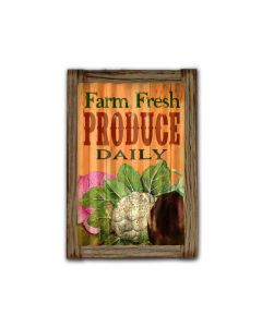 Farm Fresh Corrugated Framed, Food and Drink, Corrugated Rustic Barn Wood Sign, 16 X 24 Inches