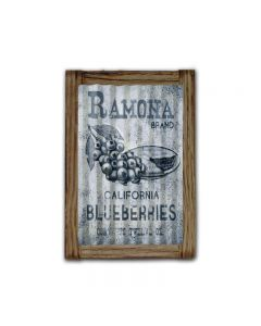 Ramona Blueberries Corrugated Framed, Food and Drink, Corrugated Rustic Barn Wood Sign, 16 X 24 Inches
