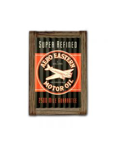 Aero Eastern Motor Oil Corrugated Framed, Automotive, Corrugated Rustic Barn Wood Sign, 16 X 24 Inches
