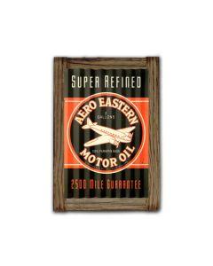 Aero Eastern Motor Oil Corrugated Framed, Automotive, Corrugated Rustic Barn Wood Sign, 16 X 24 Inches