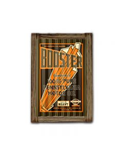 Booster Motor Oil Corrugated Framed, Food and Drink, Corrugated Rustic Barn Wood Sign, 16 X 24 Inches