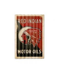Red Indian Motor Oil Corrugated Framed, Automotive, Corrugated Rustic Barn Wood Sign, 16 X 24 Inches