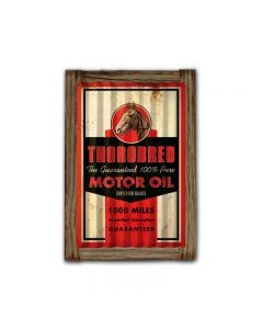 Throbred Motor Oil Corrugated Framed, Automotive, Corrugated Rustic Barn Wood Sign, 16 X 24 Inches