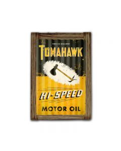 Tomahawk Oil Corrugated Framed, Automotive, Corrugated Rustic Barn Wood Sign, 16 X 24 Inches