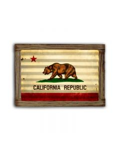 California Flag Corrugated Framed, Home and Garden, Corrugated Rustic Barn Wood Sign, 24 X 16 Inches