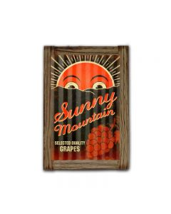 Sunny Mountain Grapes Corrugated Framed, Food and Drink, Corrugated Rustic Barn Wood Sign, 16 X 24 Inches
