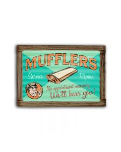 Muffler Service Corrugated Framed, Automotive, Corrugated Rustic Barn Wood Sign, 24 X 16 Inches