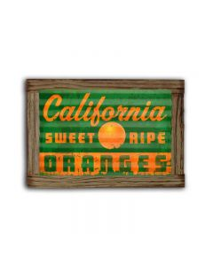 California Oranges Corrugated Framed, Food and Drink, Corrugated Rustic Barn Wood Sign, 24 X 16 Inches